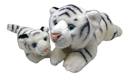 Set of 2 Miyoni Mother Baby White Tiger Toy Stuffed Animal by Aurora