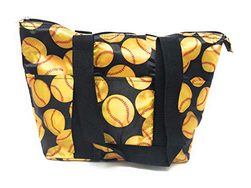 15 In Long Large Reusable Zippered Top Insulated Lunch Bag (Yellow Softball)