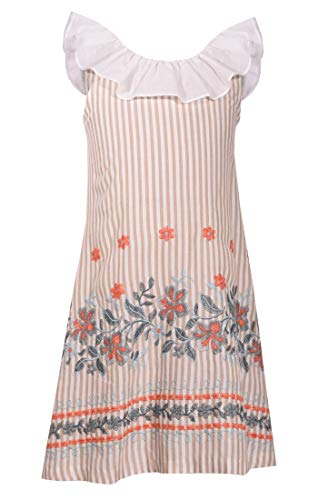 Vintage A-Line Sleeveless Tan and White Striped Sundress with Floral Embroidery