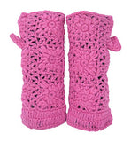Thermal Insulated Lined Knit Arm Warmer Fingerless Gloves Thumb Hole Mittens
