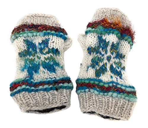 Snowflake Fair Isle Insulated Lined Knit Fingerless Gloves Thumb Hole Mittens