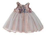 Sleeveless A-line Dusty Rose Pink Toddler Girls Dress with Lace Floral Print