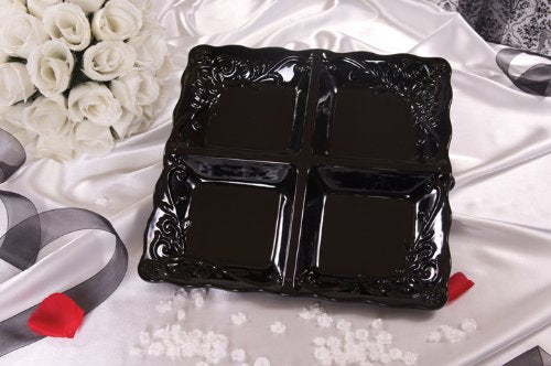 SQUARE DIVIDED TRAY SOLID BLACK STUDIO SERIES