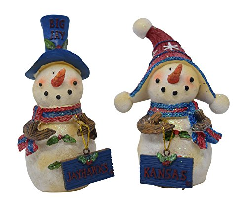 Set of 2 Licensed University of Kansas Jayhawks Snowman Standing Decorations