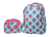 Full Size Backpack with Side Mesh Pockets and Insulated Lunch Bag Box Carrier