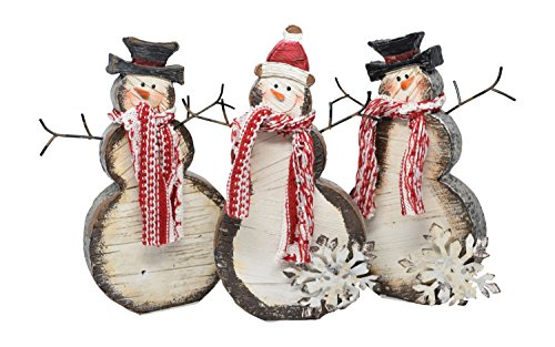 Set of 3 Holiday Winter Snowmen in Resin with Snowflake and Scarf Accents