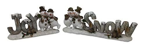 Set of 2 Holiday Snowmen Figurines Snow Joy Signs Tabletop Decorations