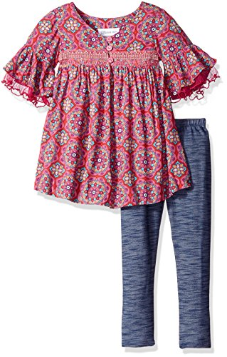 Little Girls' Toddler Printed Challis Top Ruffle Sleeve with Denim Legging