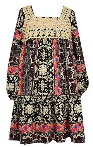 Girls Bohemian Printed Lace Fall Holiday Dress (6) Black