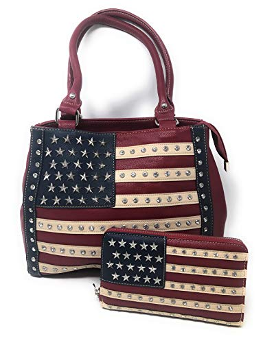 Women's Concealed Carry Shoulder Purse Red White Blue American Flag Design