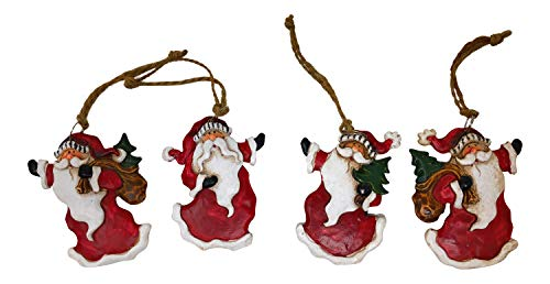 Santa Claus Christmas Ornaments Vintage Look Hanging Ornaments (Set of 4)