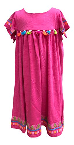 Baby Girls Fuchsia Ethnic Motif Print Tassel Adorned Dress