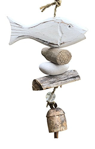 Wooden White Washed Fish with Stones and Glass Beads 15 in Long Wind Chime