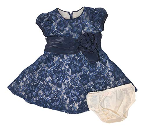 Bonnie Baby Infant Toddler Lace Party Dress, Sequin Navy