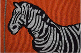 Orange Beaded Zebra Women's Evening Clutch w/ Zippered Closure, Removable chain
