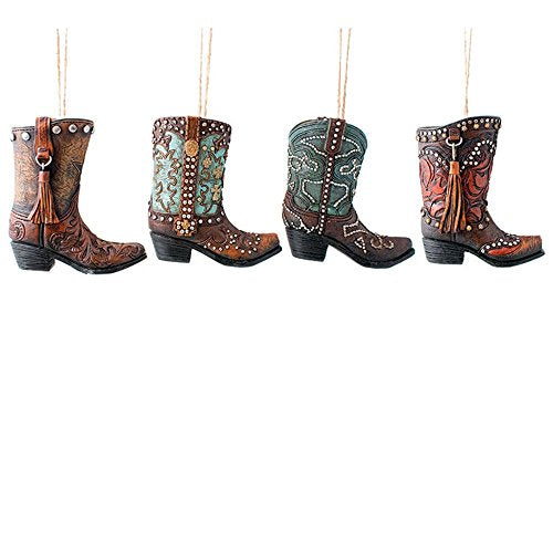 Burton & Burton Ornament Astd Cowboy Boot, 4 Assorted