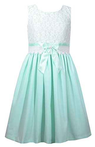 Bonnie Jean Girls Easter Aqua Linen & Lace Keyhole Back Dress 4-16
