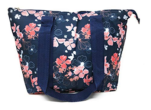 15 In Long Large Reusable Zippered Top Insulated Lunch Bag (Blue Floral)