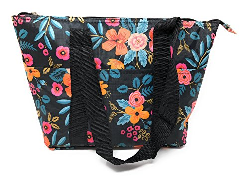 15 In Long Large Reusable Zippered Top Insulated Lunch Bag (Black Floral)