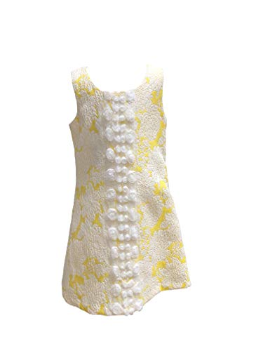 Retro Sleeveless A-line Dress Yellow White Floral Bows Lace Flowers