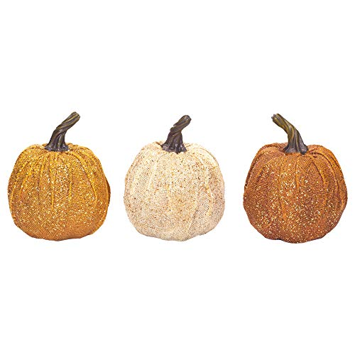 Sparkle Harvest Pumpkins Large 7 x 5 Inch Burlap Tabletop Figurines Assorted