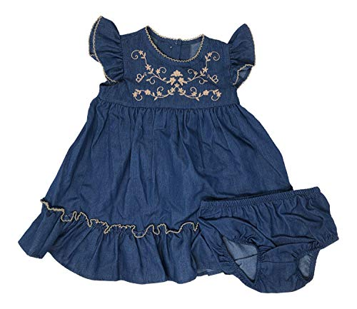 Baby Sleeveless A-line Embroidered Denim Toddler Girls Dress Matching Bloomers