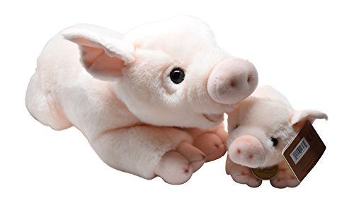 World Miyoni Stuffed Pig and Piglet Mom / Baby Set of 16 inch and 8 inch Plush