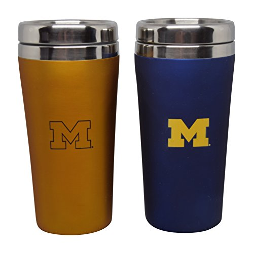 16 Ounce Stainless Steel Tumbler Set for NCAA University of Michigan Wolverines