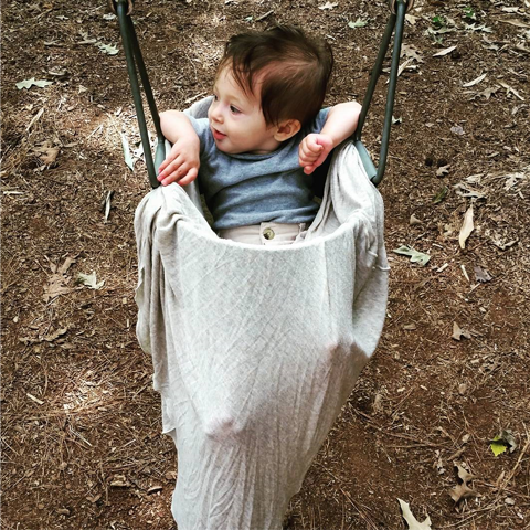 Nursing Poncho Being used as a swing cover