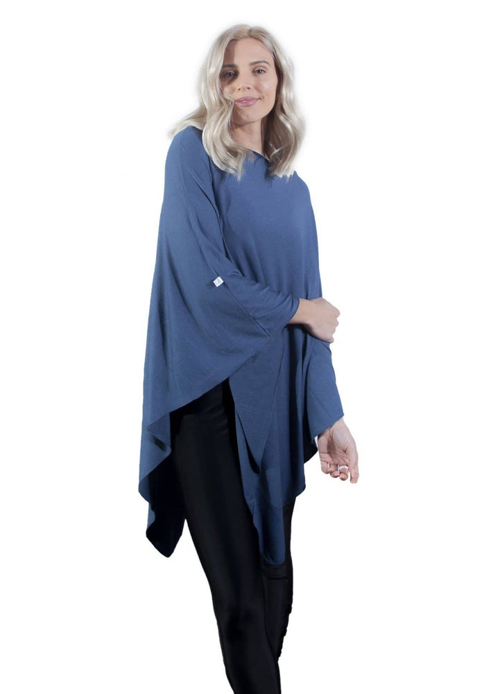 Denim Blue nursing poncho