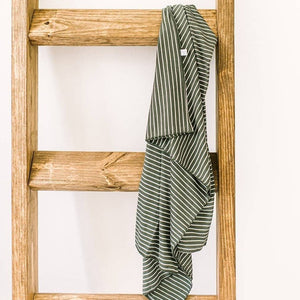 Olive Green Stripe nursing poncho