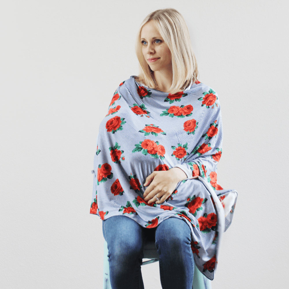 Rose Stripe nursing poncho