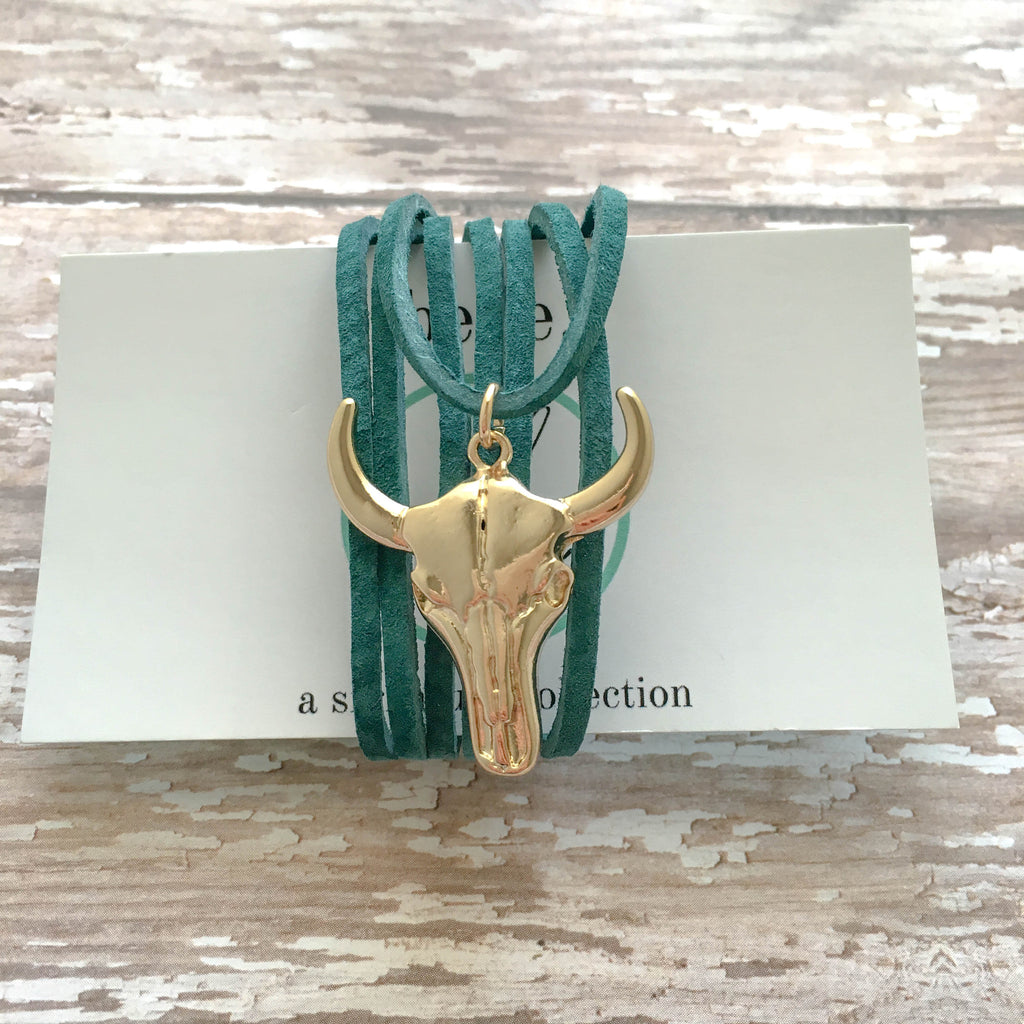 longhorn skull leather choker necklace