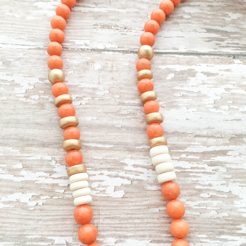 orange tibetan horn boho necklace