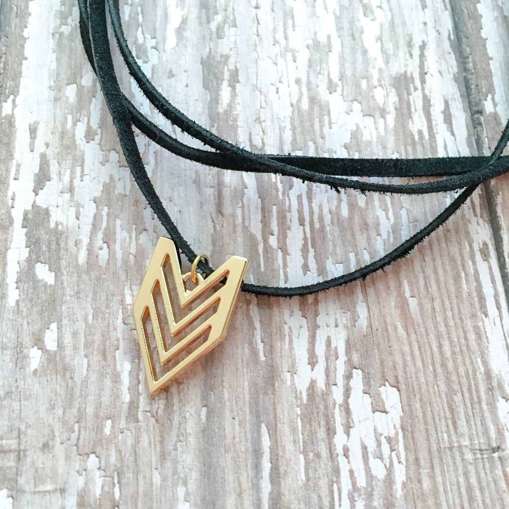 black arrow leather choker necklace