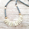 white coconut spike boho necklace
