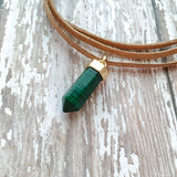 Triple wrap tan suede leather choker finished with a jade pendant.