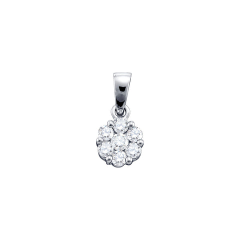 0.50CTW ROUND DIAMOND LADIES FLOWER PENDANT #12787300 - C Diamond King