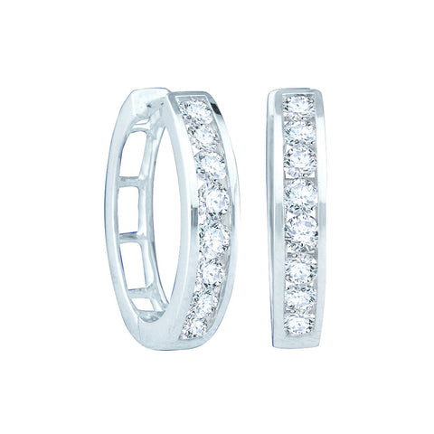 0.50CTW ROUND DIAMOND LADIES FASHION HOOPS EARRINGS #34307200 - C Diamond King