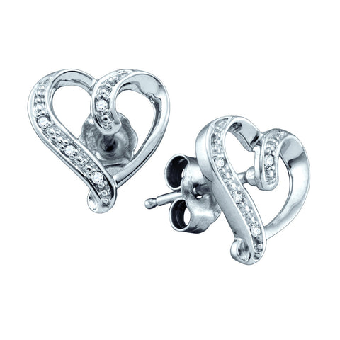0.020CT DIAMOND MICRO PAVE HEART EARRINGS #64502200 - C Diamond King