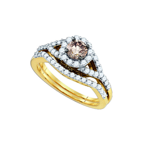 Cognac Bridal Set with 1.07 Carat TW  #80390100 - C Diamond King