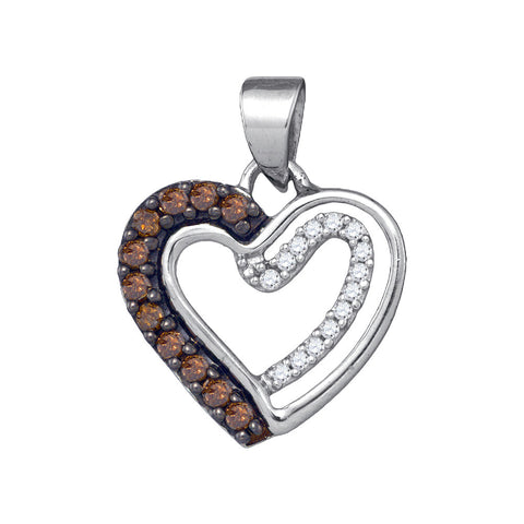 0.20CTW COGNAC DIAMOND HEART PENDANT         ` #86997300 - C Diamond King