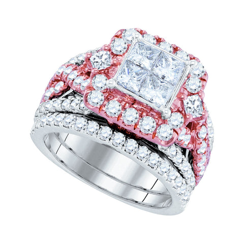 Two Tone Bridal Ring with 2.85 Carat TW - C Diamond King