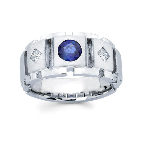 Men's Diamond Ring With 1.00CT SAPPHIRE  #MR-4315150 - C Diamond King