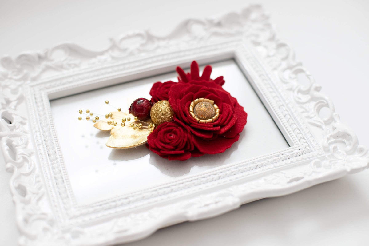 Red and Gold Felt Flower Headband