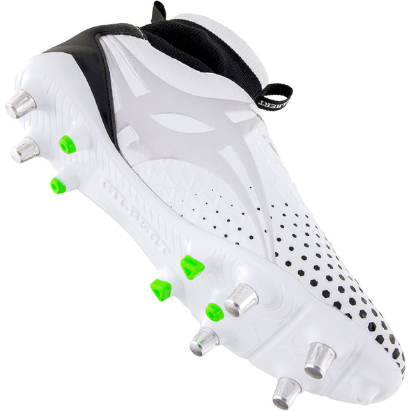 Gilbert Shiro Pro 6s White Boot ultra high performance lightweight microfibre upper ergonomical aerodynamic with built in sock construction for support and ankle protection mix of prolite studs and TPU moulded studs
