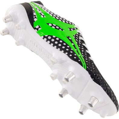 Gilbert Shiro 6s Boot White pro level backs boot made for sprinting ultra lightweight mix of prolite studs and TPU moulded studs soft ground hard ground option asymetrical lacing system