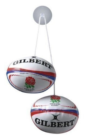 Gilbert Dangles foam filled rugby balls with string and suction cup