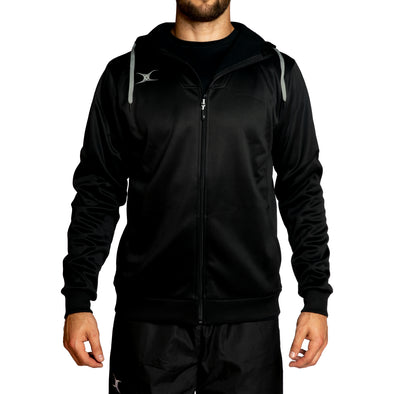 Gilbert Pro Tech mens hoodie soft active stretch moisture wicking front zip chin guard unzipped warm pockets