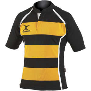 Gilbert Xact Jersey Black/Amber hooped moisture controlling collar strength durable flexibility and functionality
